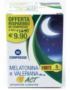 Melatonina + Forte 5 Complex e Valeriana Act 45 mg 60 compresse da 190 mg