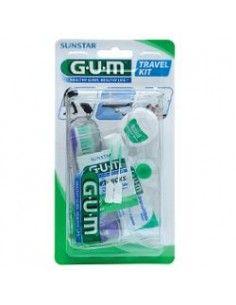 GUM Travel Kit Viaggio- Spazzolino, dentifricio, filo interdentale e scovolino