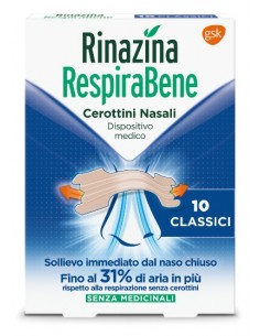 Rinazina RespiraBene Cerottini Nasali 10 cerottini nasali classici