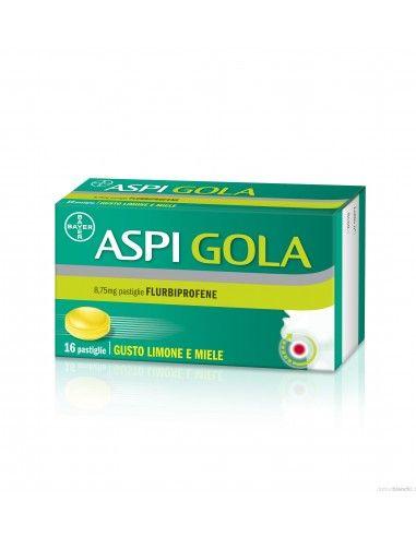 Aspi Gola - Mal di Gola Confezione da 16 pastiglie, gusto limone e miele