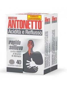 DIGESTIVO ANTONETTO ACIDITA' E REFLUSSO 80 COMPRESSE MASTICABILI 2 ASTUCCI DA 40 COMPRESSE